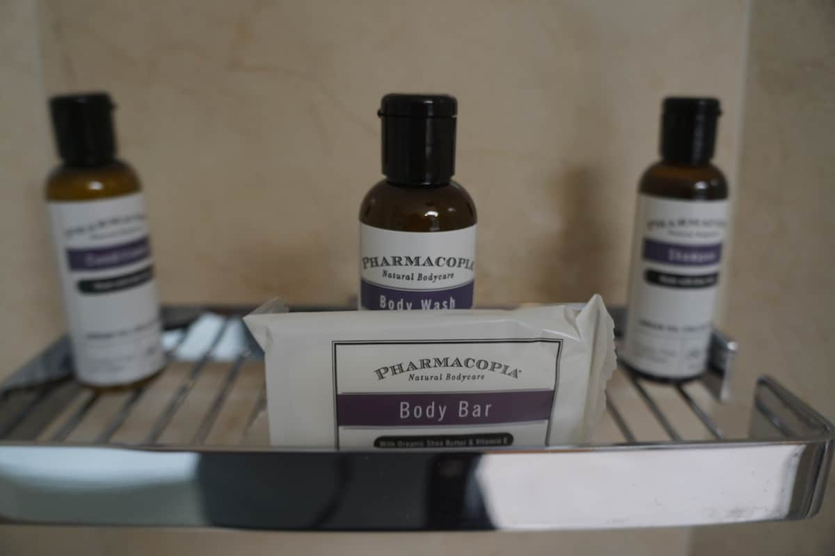 Pharmacopia toiletries: shampoo, conditioner, body wash, and bar soap
