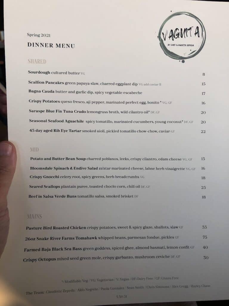 dinner menu at VAGA Restaurant at Alila Marea Beach Resort