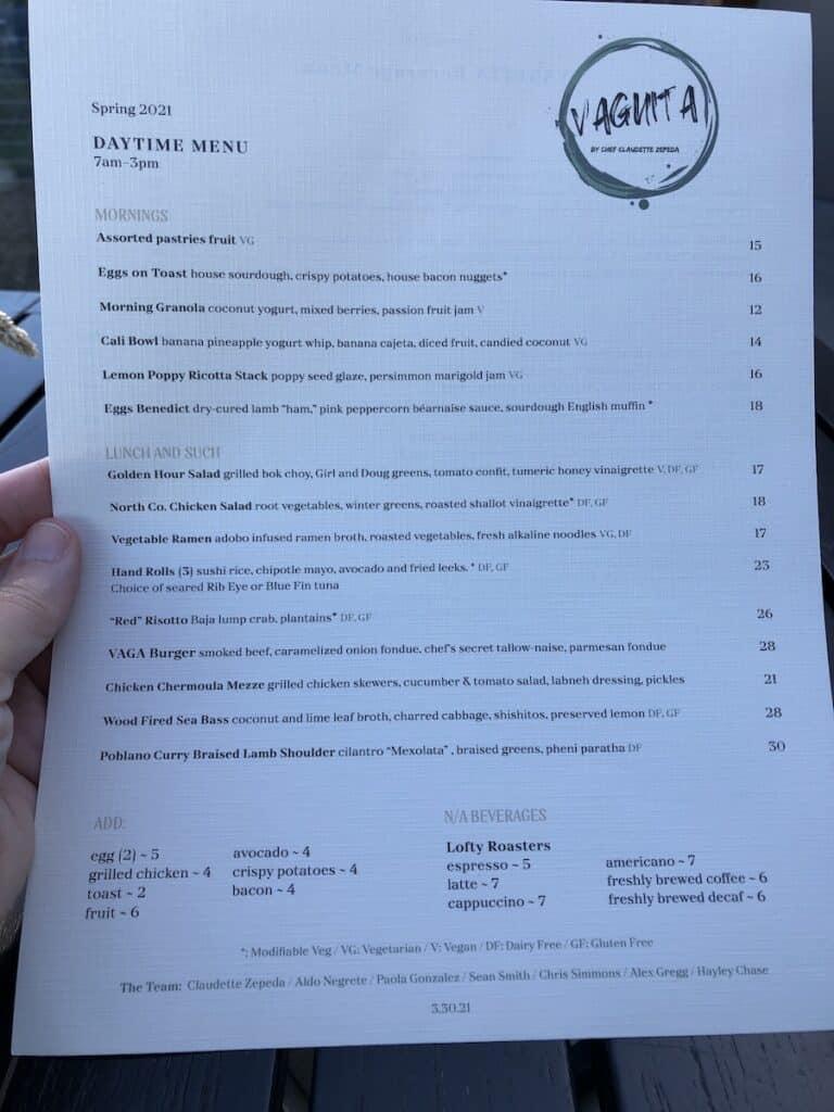 daytime menu at VAGA Restaurant Alila Marea Beach Resort