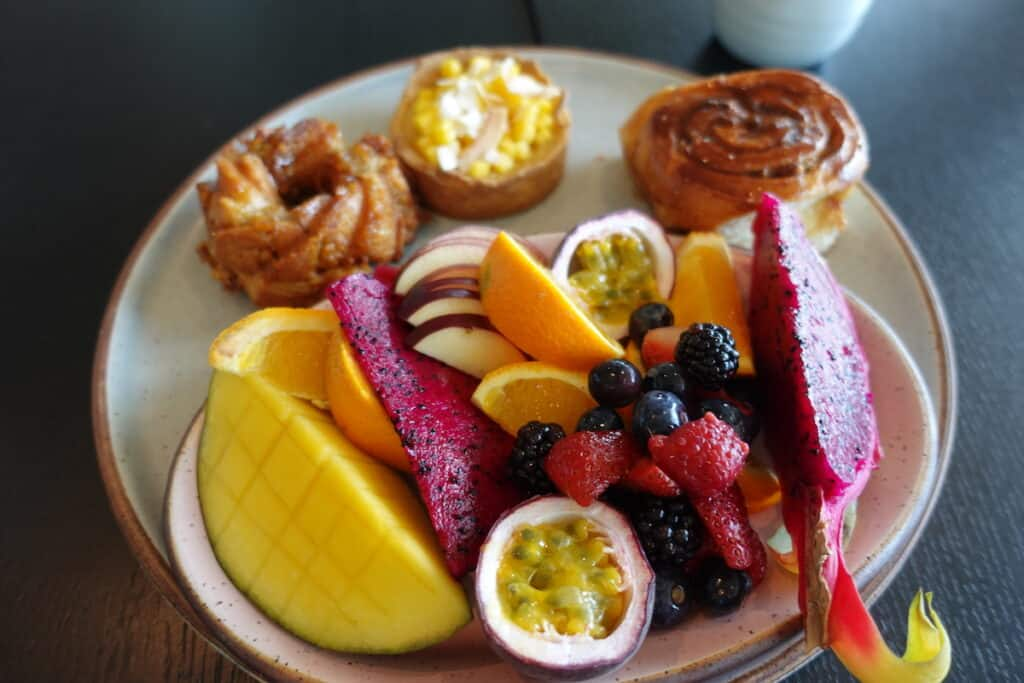 assorted pastries and fruit