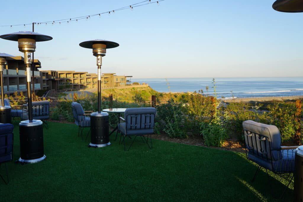 outdoor seating with coastline views