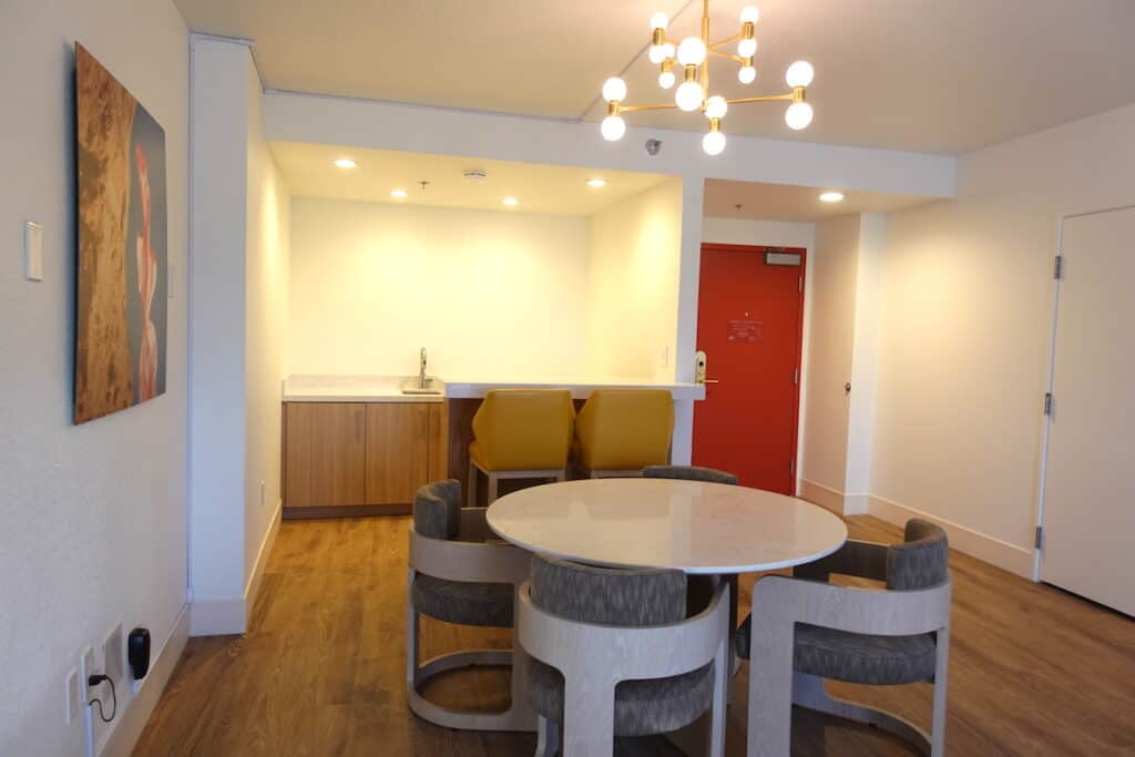 dining area of hotel suite