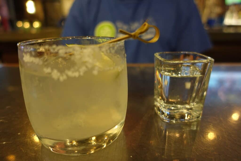 margarita and shot of tequila