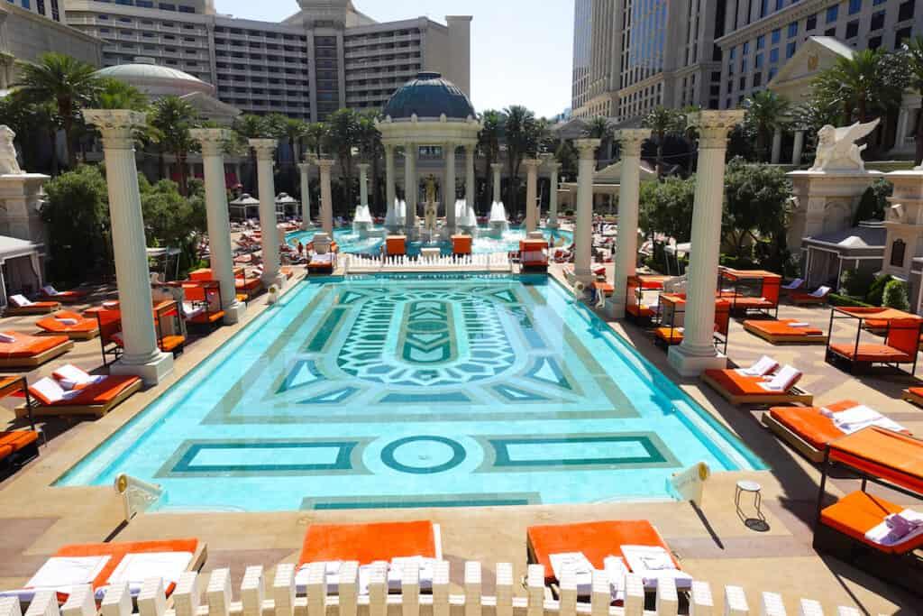 rectangle pool with Roman columns in Las Vegas at Caesars Palace Las Vegas