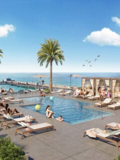 hotel rooftop pool overlooking beach