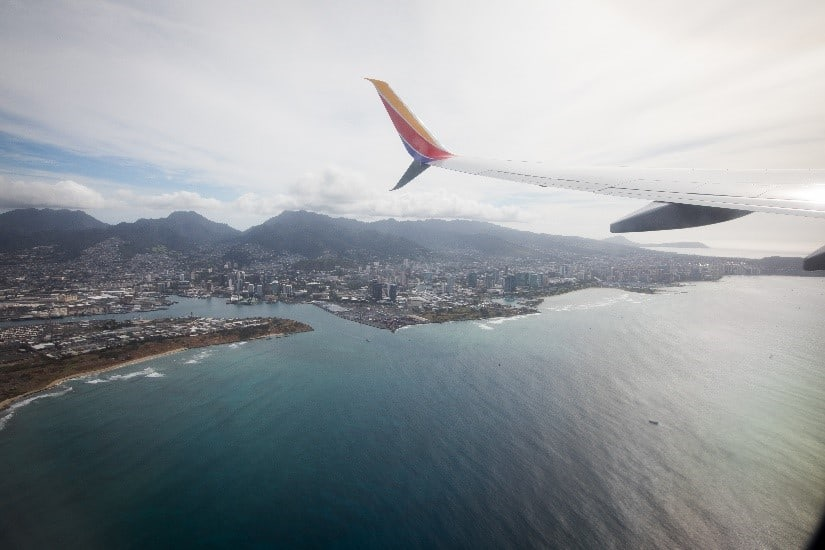 Honolulu from the air on a Southwest Airlines flight