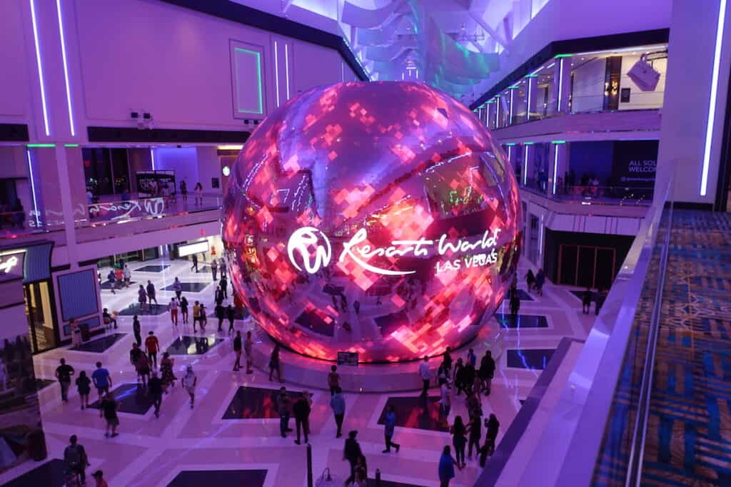 giant led ball in las vegas resorts world las vegas celestial sphere