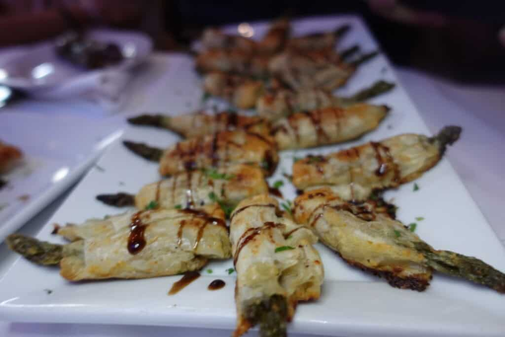 baked asparagus wrapped in filo dough, greystone steakhouse