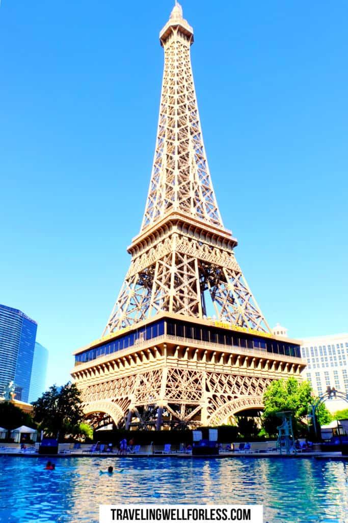pool with views of tall spherical building, Eiffel Tower Las Vegas Paris Las Vegas pool