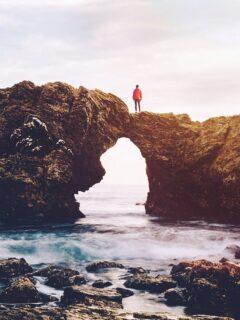 man on cliff Cameo Shores Corona Del Mar California Newport Beach