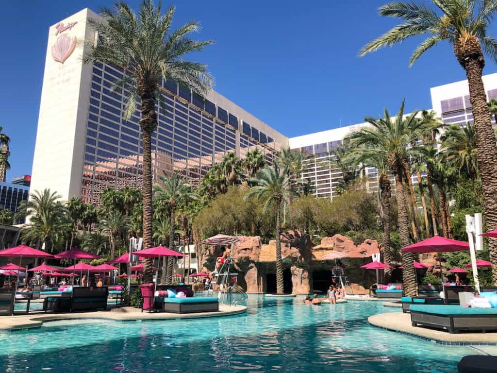 tropical themed pool in Las Vegas, Flamingo Pool Go Pool dayclub