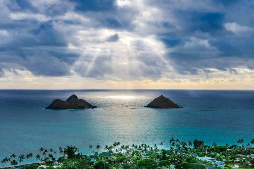 aerial islands and beaches lanikai kailua hawaii