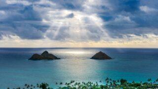 aerial island and beaches lanikai kailua hawaii