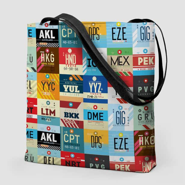 airports tote bag, travel gifts, 25 travel gifts for $25 or less, Traveling Well For Less