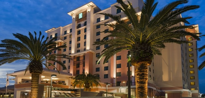 Hilton's Embassy Suites includes free hot breakfast, free hotel breakfast, Traveling Well For Less