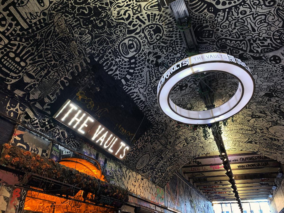 graffiti art in tunnel Leake Street Arches London