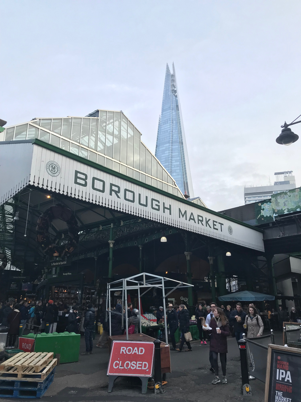 outside view of shoppers visiting Borough Market