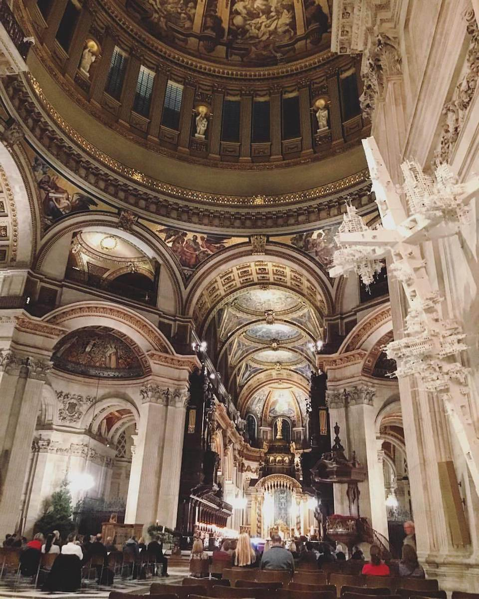 interior view of pews and part of the dome St Paul's Cathedral London