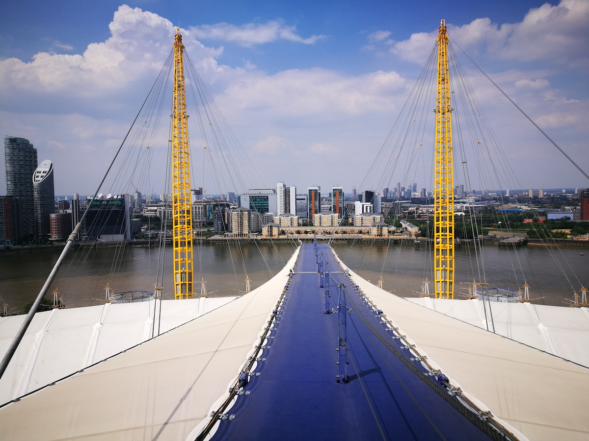 aerial view of buildings from the climb at the O2 london