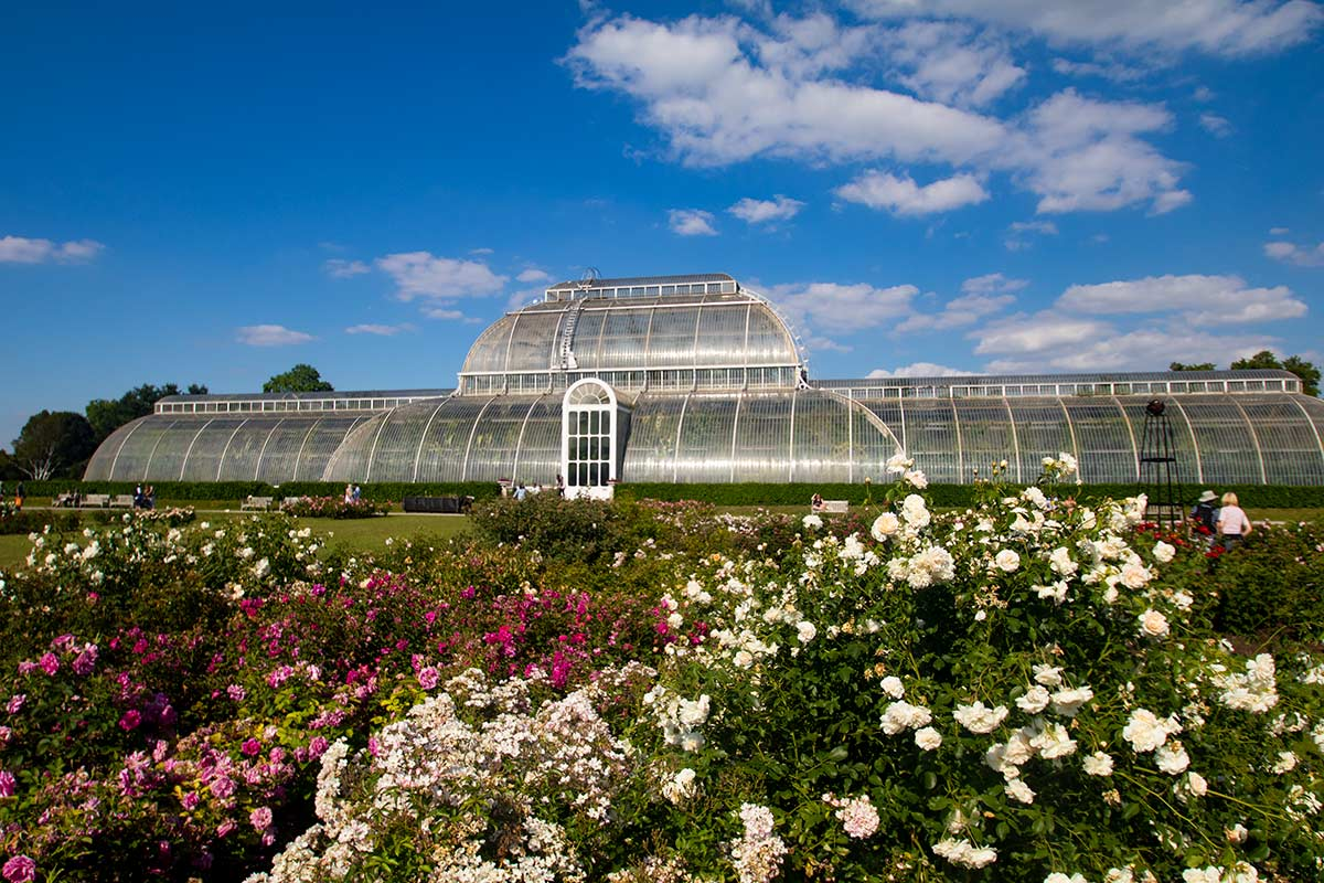 view of the front of a large greenhouse the Palm House at Kew Gardens