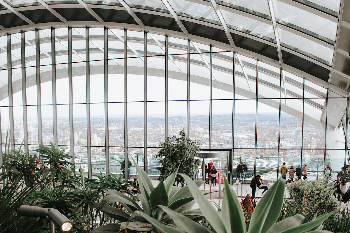 plants and london skyline view from sky garden london