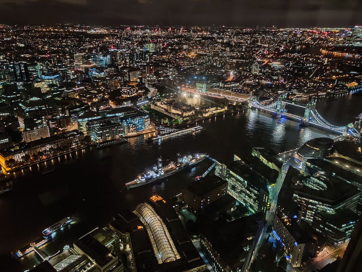 view of London at night from the Shard