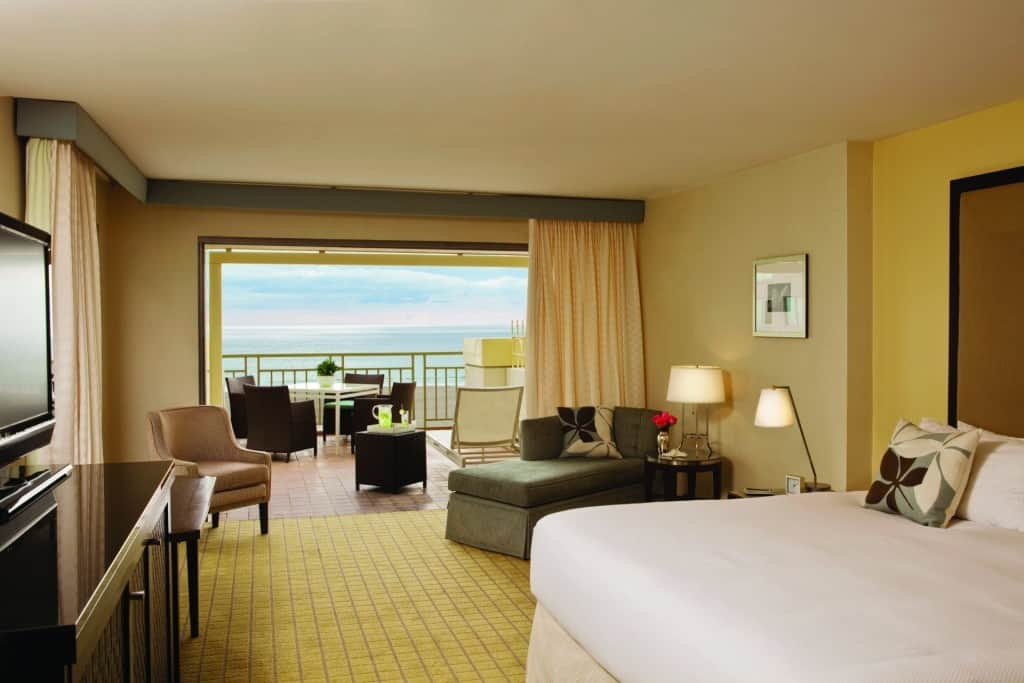 Views like this from Loews Santa Monica might keep you in your room. Good thing you have free in-room Wi-Fi, Traveling Well For Less