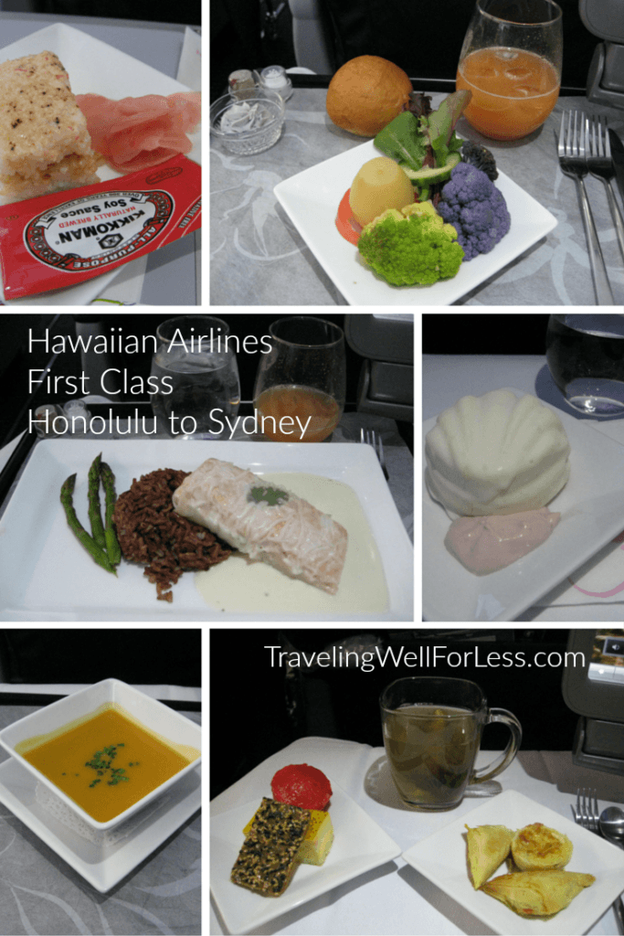 Hawaiian inspired dishes are served when you fly Hawaiian Airlines from Honolulu to Sydney. Traveling Well For Less